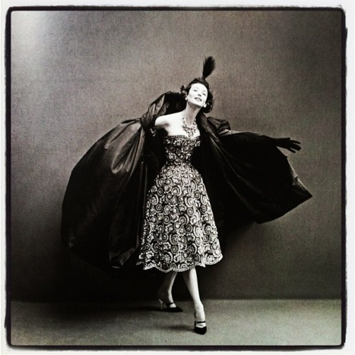 Dorian Leigh in a Dior evening gown photographed by Richard Avedon 1956