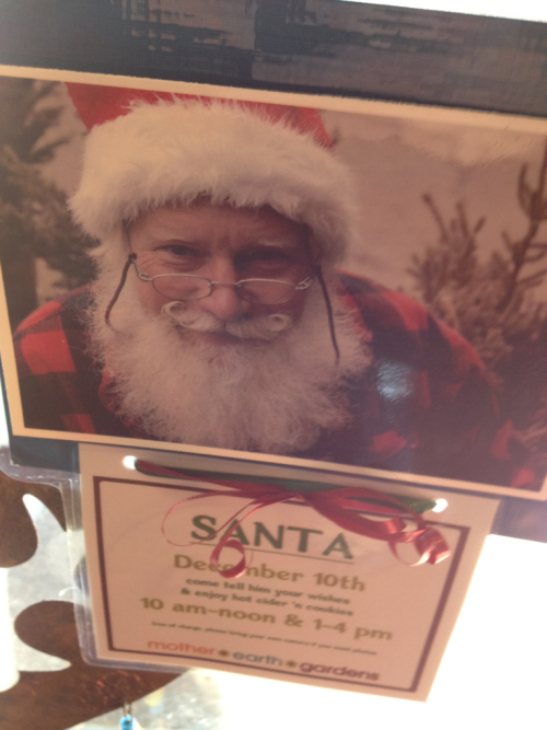 Took the kids to the best Santa ever at Mother Earth Gardens — he's there today only. He talked my 6YO out of wanting a rabbit! My hero — seriously.
