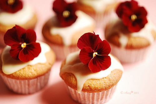 MAKE: Cupcakes with flowers on top! What a pretty way to present them!