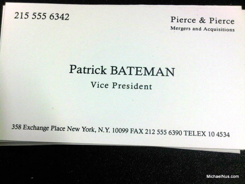 Patrick Bateman's business card