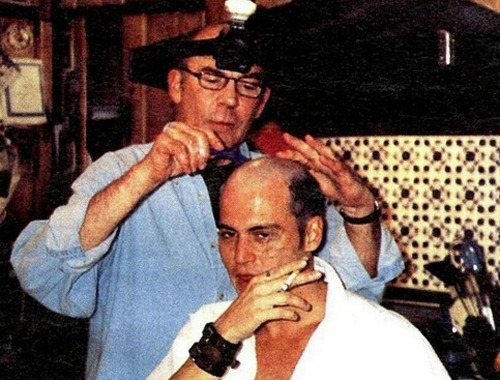 Hunter S. Thompson, himself, shaved Johnny Depp's head.
