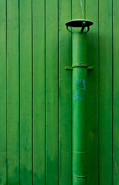 Green Wall With Pipe on Flickr.