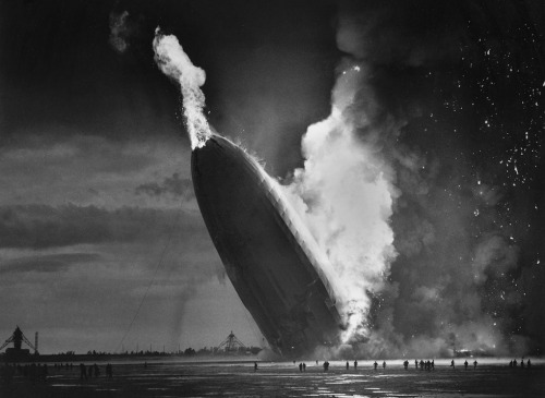 The zeppelin Hindenburg crashes to the ground in Lakehurst, New Jersey, May 6, 1937. (AP Photo by Murray Becker).
