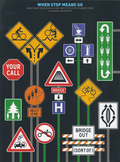 What road signs would look like if designed by cyclists.