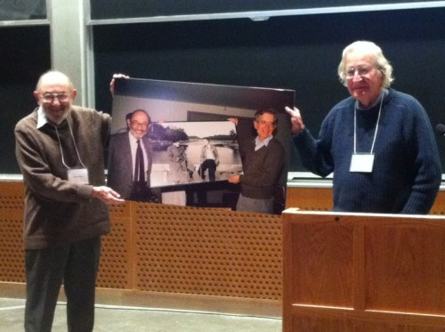 Morris Halle and Noam Chomsky holding a 1988 picture of them holding a picture taken of them in 1951. Recursion at MITvia