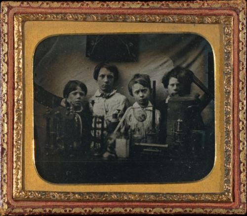 ca. 1850's, [portrait of several boys behind a science experiment] via the Metropolitan Museum of Art, Photographic Collections