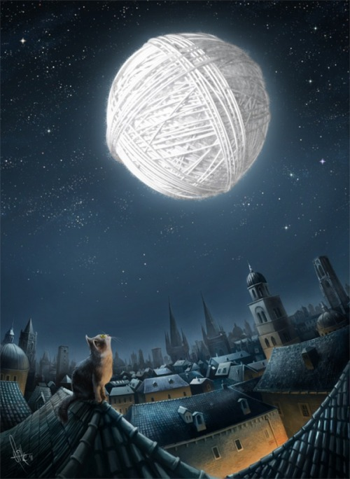 swirlofillustration:  Kitten's Dream | by: Mirsad