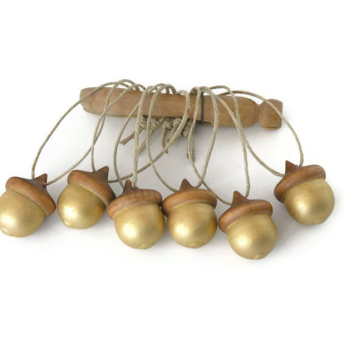 Wooden Acorns Six Metallic Gold Hand Painted by DreamingTreeFarm