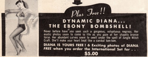 "Ebony Bombshell Dynamic Diana  ""…a gorgeous, voluptious negress.  Her exotic photos seem to come to life as you gaze at her shapely bronze torso.  Her abundant curves seem to swell under the spell of Jungle Witch Craft.  She'll make your heart beat like a canibal (sic) tom-tom"" COMING UP ON VINTAGE SLEAZE THE DAILY ART BLOG (See also Secret History of the Black Pin Up Book by Jim Linderman, available in paperback OR as iPad download HERE)"