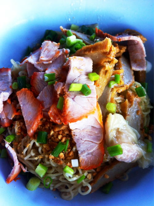 Thai food: Ba-Mee-Kiew-Hang, egg noodle and wanton with roasted pork. Thai noodle is amazing, we can mix and match noodle and ingredient to create a new recipe. You can even order with or without soup.