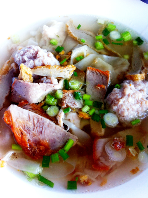 Thai food: Kiew-Nam, wanton soup with roasted pork. Another Thai noodle creation, actually you can order it without soup as well.
