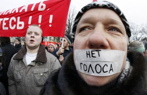 "occupyallstreets:  Tens of thousands of Russians turned out for protests across nine time zones Saturday, challenging Prime Minister Vladimir Putin with a newfound sense of solidarity and marking a turning point in his rule. After a decade of silence, ordinary citizens rallied to express their disgust with what they called a fixed election last Sunday. Between 25,000 and 40,000 people filled Bolotnaya Square across the river from the Kremlin in Moscow, chanting against the ""party of crooks and thieves,"" as they have come to call Putin's United Russia. An additional 10,000 gathered in St. Petersburg, with towns from Siberia to the Urals reporting 500, 1,000, or even 3,000 each in the largest opposition protests Putin has ever encountered.The Moscow organizers promised an even bigger protest Dec. 24. Heavily armored police stood impassively around the square in Moscow and along a march route from a gathering place near the Kremlin, while dozens of buses full of helmeted interior ministry troops waited nearby. But police reported that no one was detained — in marked contrast to the hundreds who were rounded up Monday and Tuesday in impromptu demonstrations. Almost no one appeared to be seeking revolution — bloggers called it the Great December Evolution, a play on the Bolsheviks' Great October Revolution of 1917. ""We don't want blood,"" said Dmitry Raev, who works for an international law firm. ""We don't want revolution. We earn enough money to live. But the authorities need to understand we are really fed up."" Their specific demands — for good government, with new and honest elections, and the the freeing of the nearly 1,000 protesters arrested last week — are unlikely to be met, at least right away. But protesters said they suspect that Saturday marked the beginning of an inevitable change in the political culture. The Moscow crowd was full of people like Raev: young and educated, with good jobs, but willing to stand for four hours under a gray sky and lightly falling snow to make themselves heard. Read More"