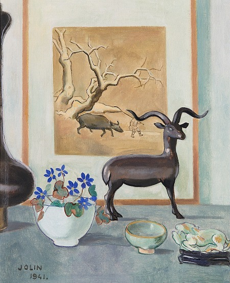 Einer Jolin Still Life with Bluebells and Indian Sculpture 1941