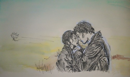Pride and Prejudice - Elizabeth and Darcy pen and ink