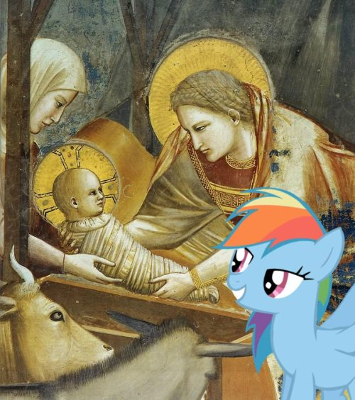 "dashphemy:  ""So when will he be done?""""Rainbow Dash for the last time we are not eating Jesus. We're not atheists."""