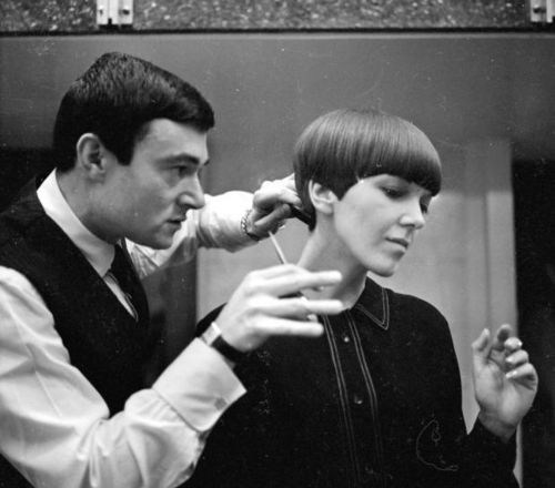 Mary Quant having her hair cut by Vidal Sassoon, 1960s.