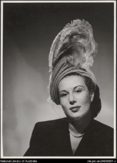 Unidentified model wearing a hat in a fashion advertisement for Myer, 1947 - Sievers, Wolfgang, 1913-2007.