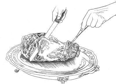 "Ham Carving : Six steps make it easy to handle a bone-in ham.    By Hunter Lewis       A whole, bone-in ham, like the ones called for in our recipes, makes for  a magnificent holiday roast, but many home cooks shy away from a whole  bone-in cut because they think that carving around the bone, which runs  the length of a ham from the narrow shank end all the way to the thick  butt end, is not worth the effort. Though it's not as simple as slicing a  boneless ham, it isn't hard to produce elegant slices from a whole ham.          The six steps below are easy to master.                1. Carve 1⁄4"" of meat off bottom of ham so that it will sit flat  when flipped over. Flip ham. Working about 4"" from shank end, make a  vertical cut down to the bone.           2. Make a 45-degree diagonal cut about 2"" away from the first cut to make a V. Carve to the bone to release the wedge of ham.           3. Working at the same angle as the initial diagonal cut, begin making  even, 1⁄8""-thick slices, cutting to the bone and working your way toward  the thick end.           4. Transfer slices to a platter  as you go, continuing to carve at a diagonal until you've reached about  a third of the way to the thick end of the roast.           5. Now begin carving at a new angle, slicing from the side of the ham  closest to you inward toward the center of ham and down to the bone to  create thin half slices.           6. Repeat the above  step on the opposite side of the ham, then switch back, until you have  released most of the meat from the bone."