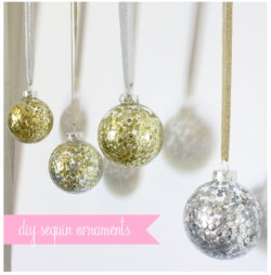 craftovision:  scissorsandthread:  Sequin Holiday Ornament | Made By Girl I know that other ornament DIYs I've featured have been a little more involved, but if you're looking for the easiest DIY decorations ever, you can't go past this! All you need is the clear baubles, some sequins and water. Once you've add the water and tipped out the excess, you add your sequins and shake. The water will keep the sequins stuck on the side once it has dried!  Brilliant! #HandmadeForTheHolidays