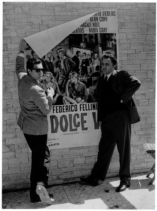 Marcello Mastroianni and Federico Fellini. La dolce vita.