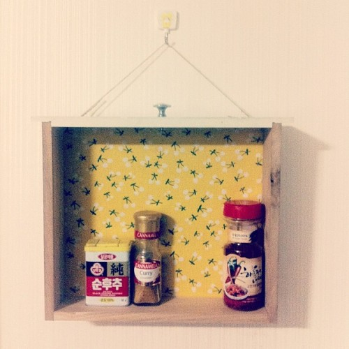 Finally got around to hanging up the spice rack/drawer from old cabinet I found on the side of the road. (Taken with instagram)