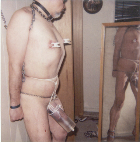 tony naked, bound with cock pump discipline