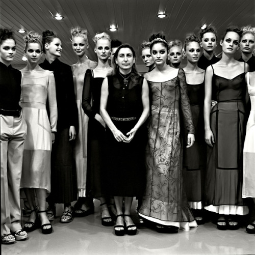 1972projects:  1997: Miuccia Prada with her models, backstage at the Prada show, by Filippo Fortis http://www.1972projects.blogspot.com