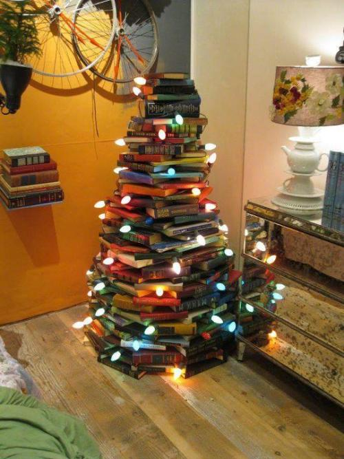 Trees are turned into books, but this person turned books into a tree! Awesome!Happy holidays, from I Heart Classics.
