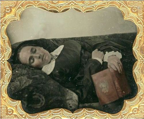 ca. 1850's [post mortem daguerreotype of a woman with a book] via Live Auctioneers, Be-Hold