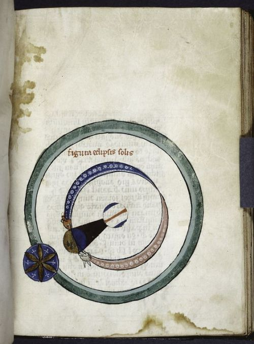 Diagram of an eclipse of the sun, with the moon casting a shadow cone, c. 1260. Calendar, Tables for art of computus, Computus, Quadrans, De Sphaera, Algorismus, Cautelae