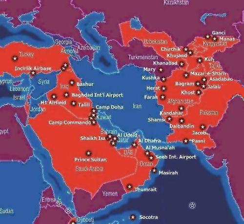 Each star marks an American military base in the Middle East.