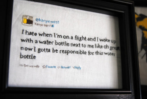 Yet another gift idea for the new-media savvy: Kanye West's tweets, hand-stitched and framed. Genius. (From etsy seller Amy Sheridan.)