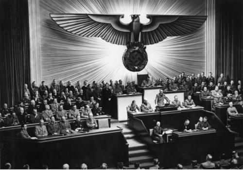 "This day in history: Adolf Hitler gives a rambling speech at the Reichstag in Berlin (mentioning ""Roosevelt"" more than 50 times) in which he eventually declares war on the United States.  Italy follows suit the same day. The United States responds later that same day with unanimously passed declarations of war against both countries, each being one paragraph (although really just one run-on sentence each) long. December 11, 1941 - 70 years ago today."