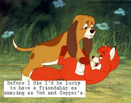 """Before i die I'd be lucky to have a friendship as amazing as Tod and Copper's."" -Anonymous"