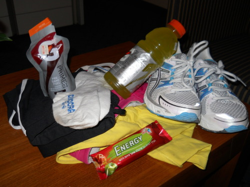 IT'S LIKE A HAPPY LITTLE FAMILY OF RACE GEAR! Gatorade Prime Gatorade Perform Energy bar New Asics Gel-1170s AND. THEY. ARE. BEAUTIFUL. Compression tank Sports bra Winter tech capris Compression socks A WHOLE LOTTA EXCITEMENT Who's running a 10K in Jerusalem tomorrow night? This girl! I'm reeeeeeeeeeeally hoping it goes well… I need a solidly-run long race under my belt, for my own happiness and pride and sanity. Think fast and strong legs thoughts for me, please!