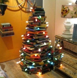 Its the yearly book tree i have to find and post… Herro Christmas time.  kitsoru:  Psssst waifu eue (via twitter, source linked through)