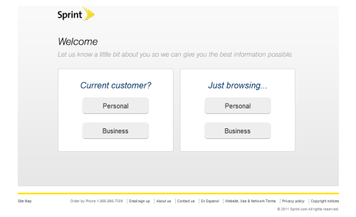 Sprint trying to take simple, straightforward, audience segmentation seriously as part of their initial UX navigation.