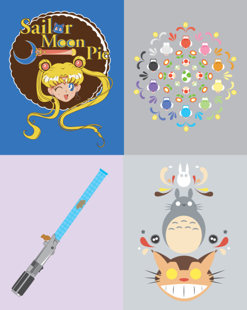 kannaya:  Sailor Moon Pie, Yoshi Prism, Hamster Lightsaber and Totoro & Friends digital illustrations by Ashley Hay Buy || Follow