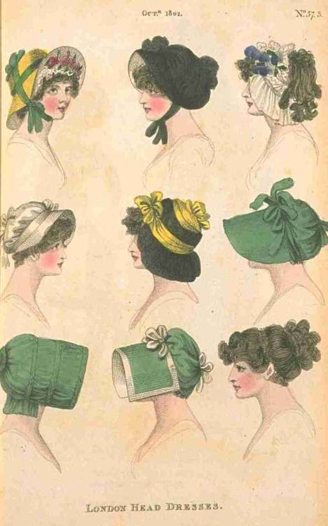 Fashions of London and Paris, London Head Dresses, October 1802.  That little teeny-brimmed white bonnet on the left is adorable!