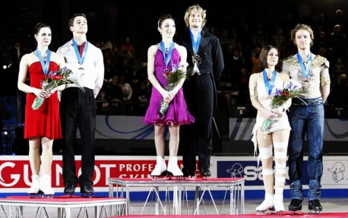 The ice dancing medalists at the 2011 Grand Prix Final. 1. Meryl Davis and Charlie White 2. Tessa Virtue and Scott Moir 3. Nathalie Pechalat and Fabian Bourzat