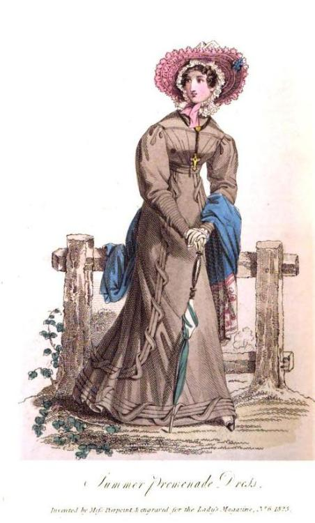 Lady's Magazine, Summer Promenade Dress, June 1825.  What a charming outfit!  Such interesting and unusual trim!