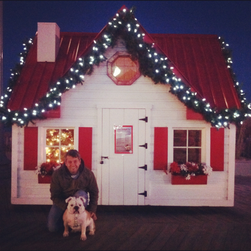 Stella and her daddy at Santa's house!