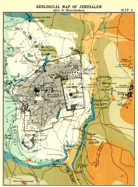 John George Bartholomew, 1907, Geological Map of Jerusalem