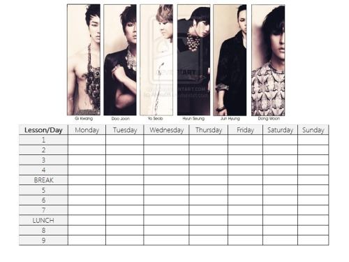 BEAST/B2ST School Timetable print outs. You can request us for any design you want in our ask box!