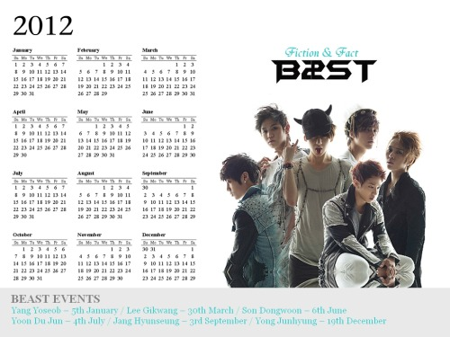 A4-SIZE BEAST 2012 PRINTABLE CALENDAR [made by Varshini, fanmade].Follow us for more BEAST updates and much more!