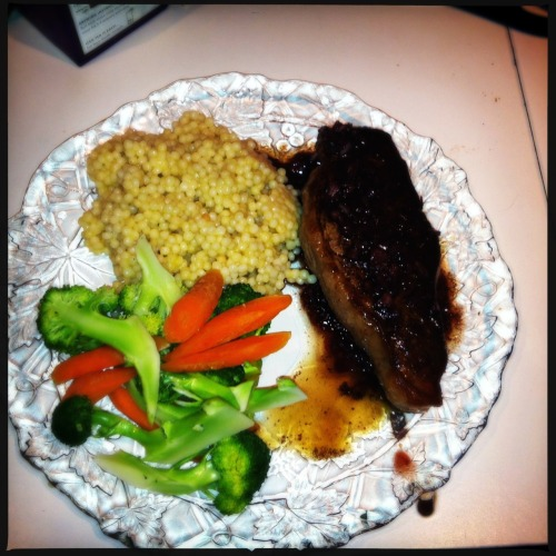 New York Strip Steak with Red Wine Reduction, Israeli Cous-cous, and Steamed Vegetables Loftus Lens, DC Film, Jolly Rainbo 2X Flash, Taken with Hipstamatic