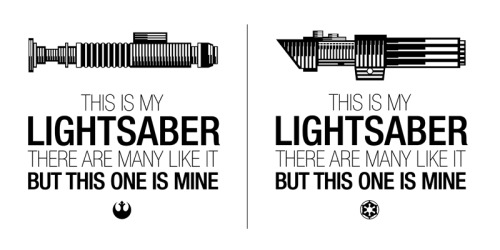 "6amcrisis:  ""This is my Lightsaber"" tshirt available in either Vader version or Luke version. Buy the Vader version here  or Buy the Luke version here Vince/6amcrisis"