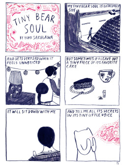 "yumisakugawa:  ""Tiny Bear Soul"" Comic created for Sadie Magazine (www.sadiemagazine.com) 2011"