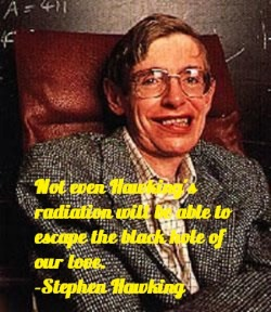 Stephen Hawkings (1942-present) theorized in  the mid seventies the existence of a type of radiation that could escape a black hole. Hawking Radiation is a type of thermal radiation that is related to black body radiation emitted by black holes, related to quantum properties of black holes. Hawking's Radiation allows black holes to eventually lose mass and dissipate.-AZ
