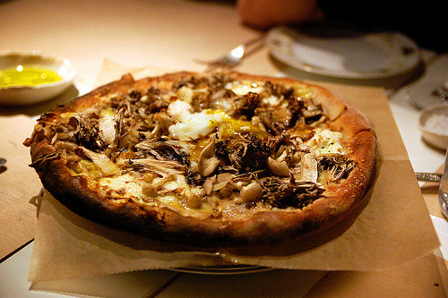 allthatsyummy:  Mushroom, Parmesan, Oregano and Farm Egg Pizza at ABC Kitchen (by kelly bone)